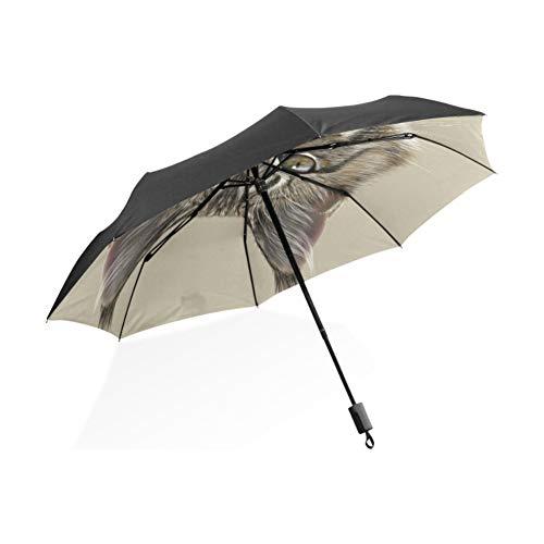 FOOFLH Katze Regenschirm Pflaume Regen Frauen Taschenschirme Anti-Uv Vollautomatische Schöne Regen Sonnenschirme (Regenschirm Pflaume)