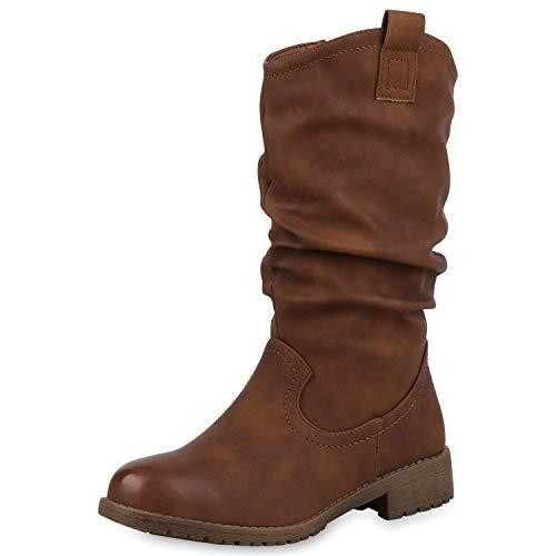 SCARPE VITA Damen Cowboystiefel Leicht Gefütterte Western Stiefel Cowboy Boots 171024 Braun 37