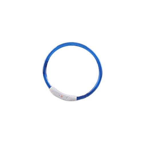 Igemy Wiederaufladbar USB Wasserdicht LED Blinkt Licht Band Sicherheit Haustier Hund Halsband (35cm, Blau) -
