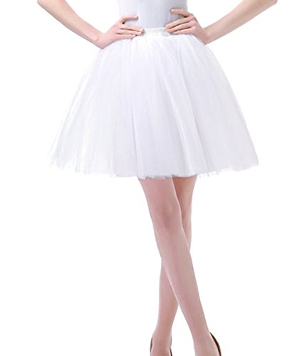 Facent Damen Kurz Tutu Tüllrock Petticoat Kleid Minirock Tütü Ballerina Tüll Rock Reifrock Weiß