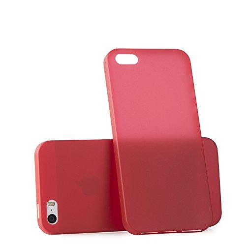 MC24 iPhone SE Ultra Thin Handyhülle/Schutzhülle / Handy-Schale Smartphone Cover | Ultra Slim Case in rot | Dünn & Leicht Hülle für Apple iPhone SE 5S 5