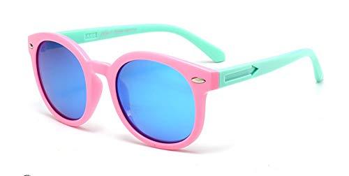 Sonnenbrille Vintage Runde Sunglasse Für Kinder, Schüler, Outdoor Brille Weiche Sicherheitsrahmen Hd Polarisierte Sonnenbrille Mit Etui Grün Pink