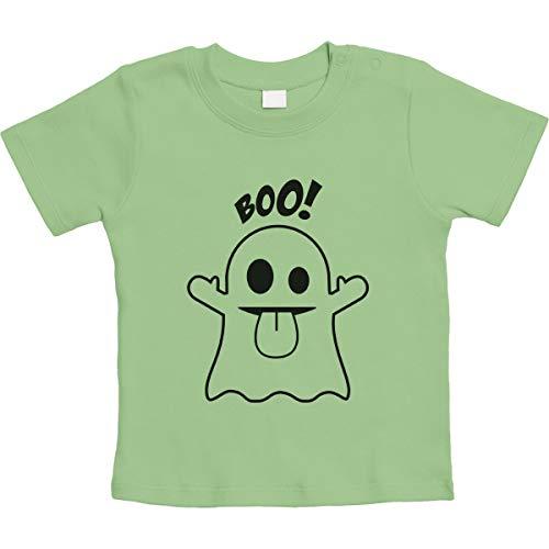 Süßes Geister Motiv Boo! Unisex Baby T-Shirt Gr. 66-93 12-18 Monate / 86 Limettengrün