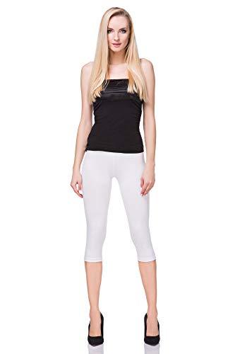 Lange Länge Leggings (FUTURO FASHION - Leggings mit 3/4-Länge - Baumwolle - extra bequem - Übergrößen - Weiß - 48/50 (XXXL))