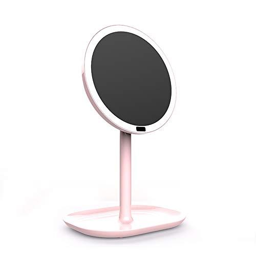 Maquillage Miroir Corps Capteur LED Lumière Maquillage Miroir Chambre Chevet Coiffeuse Maquillage Lampe Miroir Voyage Vanity Mirror (Couleur : Rose)
