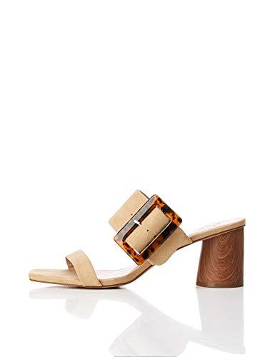 find. Large Buckle Block Heel Sandal Sandalias con Punta Abierta, Beige, 40 EU