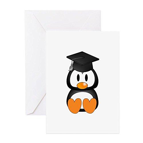 CafePress–Senior Pinguin 3–Grußkarte, Note Karte, Geburtstagskarte, innen blanko, glänzend