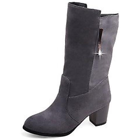 YU & YU botas para mujer otoño/invierno moda botas vestido talón Chunky otros negro/gris/Beige Walking, color gris, tamaño us7.5 / eu38 / uk5.5 / cn38
