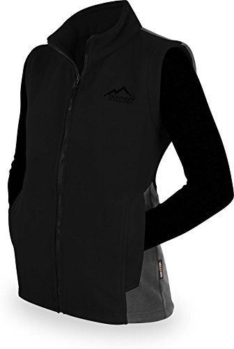 normani Damen Fleeceweste in zweifarbiger Optik mit Stehkragen und großen Taschen mit ZIP-T3k System Farbe Schwarz Größe L