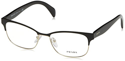 133614452824 Prada 0PR 65RV, Monturas de Gafas para Mujer, Black On Pale Gold, 55