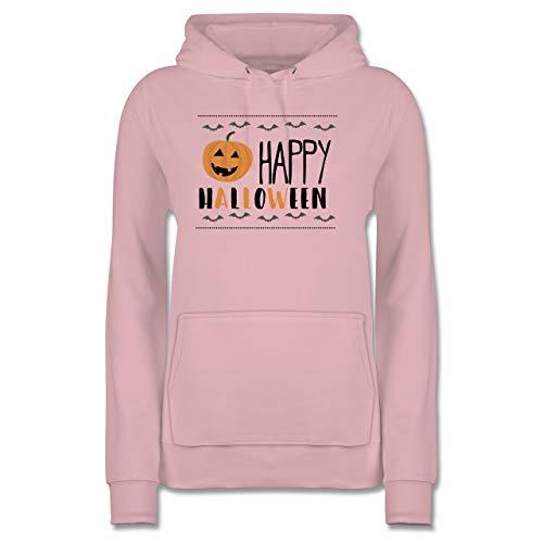 Shirtracer Halloween - Happy Halloween Kürbis - S - Hellrosa - JH001F - Damen Hoodie (Halloween Happy Witze)