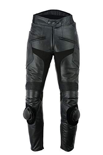 Pantalon de Moto - Homme - Cuir de Vachette - Sliders intégrés - Noir uni - W32 L32