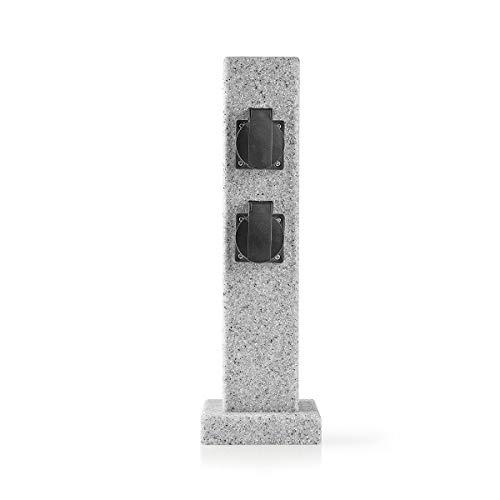 TronicXL Premium IP44 Garten Stein Design Steckdosenleiste 4-fach Verteiler steckdose 4er 4fach Outdoor Außenbereich Steinoptik Steckerleiste Säule Steckdosensäule gartensteckdosenleiste