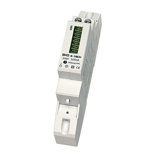 B+G E-Tech DRS155DC-V3 - LCD digitaler Wechselstromzähler Stromzähler mit Leistungsanzeige 5(50) A für Hutschiene mit S0 2000 Imp./kWh (30ms) & Rücklaufsperre
