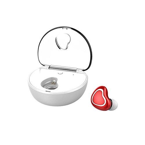 Mini-Kopfhörer mit Ladebox Stereo Kabellos Blauzahn Unsichtbar Bluetooth-Anrufe ablehnen Wahlwiederholung Headset für iPhone, Samsung, Android Phone, Smartphones und Tablets_Red