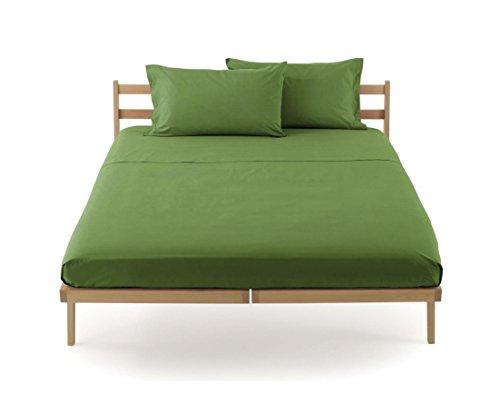 Lenzuolo sotto con angoli zucchi clic clac percalle di puro cotone letto singolo una piazza cm 90 x 200 100% made in italy (muschio - 1235)