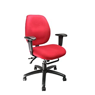 Eliza Tinsley 1435MBSY/AWN Ergonomic Medium Back Multi-Functional Operator Chair with Adjustable Arms - Wine