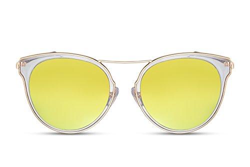 Cheapass Sonnenbrille Rund-e Gläser Verspiegelt Gold Gelb UV-400 Designer-Brille Damen Frauen Metall