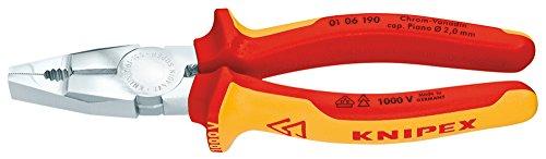 KNIPEX 01 06 190 Kombizange Chrom-Vanadin verchromt isoliert mit Mehrkomponenten-Hüllen, VDE-geprüft 190 mm