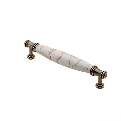 MoGist 2 Stück Möbelgriffe Vintage Europäischer Stil Marmormuster Keramik Metall Stangengriffe Schrank Schublade Türgriff Kleiderschrank Zieht Griffe (Stil-5) -