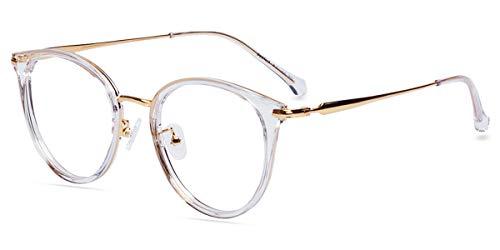 Zinff S947 Klassische Klar Beinstein Schwarz Brille Damen Brille Retro Vintage Rund Blaulichtfilter Brille PC Brille Rund Brille Herren Brille Anti Blaulicht UV-Schutz Linse