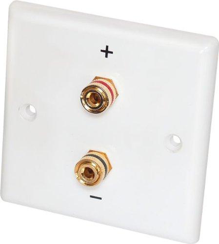 2 Stück - Dynavox Lautsprecher-Wand-Anschlußblende, weiß / 2x Bananen-Kupplung - Lautsprecher Hängen