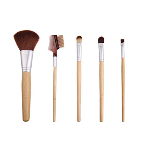 XUAN 5 PCs maquillage pinceau bambou emballés ensemble sacs de toile