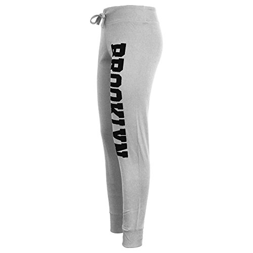 Pantaloni da donna con stampa Brooklyn; pantaloni per tuta da jogging Brooklyn / Grey & Black