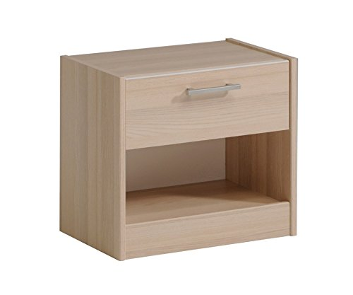 Parisot 2498CH1T Table de chevet - Charly Acacia Clair/Blanc Bois