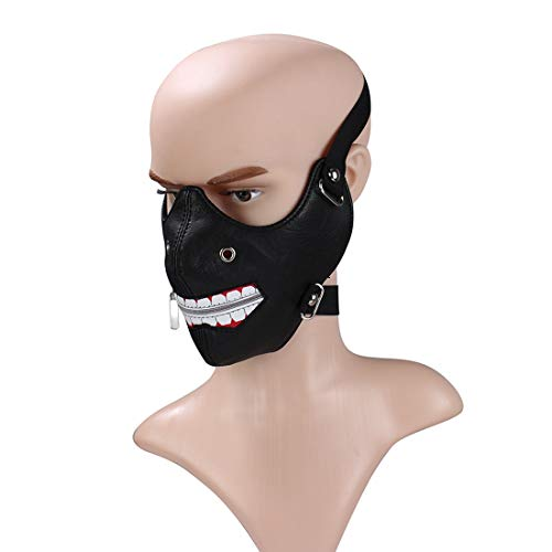 UICICI Reißverschluss Gothic Steampunk Maske Biker Männer Motorrad Half Face Anti Staub Cosplay Airsoft Wind Coole Punk Maskerade Maske (Farbe : Schwarz) (Reißverschluss Gesicht Kostüm Machen)