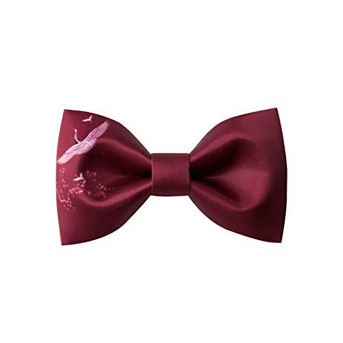 ZXF Herren Wine Red White Crane Neckcloth Hochzeit Groomsmen Business Fliege Bräutigam Polyester Satin Fliege Bow Ties (Hosenträger Tie Bow Rot Red)