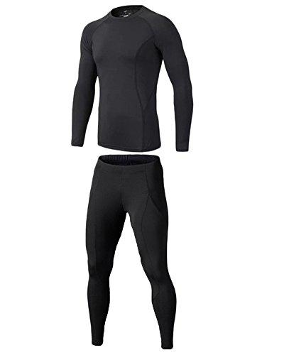 Kinder Sportunterwäsche Base Layer Langarm Compression Shirt + Hose Kompressions Set Funktionsunterwaesche Set Für Fitness Running Schwarz M
