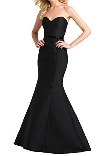 Royaldress Einfach Traegerlos Herzausschnitt Abendkleider Partykleider Promkleider Meerjungfrau lang Neuheit Schwarz