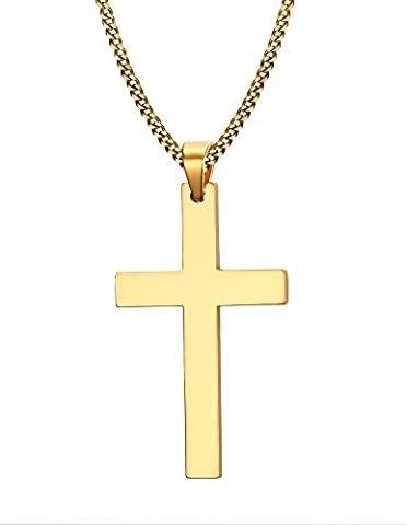 Vnox Stainless Steel Simple Blank Cross Necklace Pendant for Women and Men Gold,Free 60cm Cuban Chain