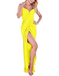 Y-BOA Robe Mini Col V Drapée Longue Maxi Cover Up Bikini Plage Soirée Femme Sarong