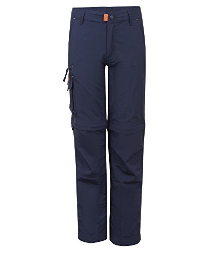 Trollkids Quick-Dry Zip-Off Hose Oppland Slim Fit, Marineblau/Orange, Größe 98
