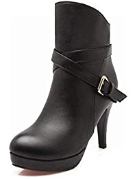 ZHRUI Zapatos de Mujer - Calzado de otoño e Invierno de tacón Alto para  Mujer Europa y Estados Unidos Botas cómodas con Cremallera Trasera 36-42… df481fd5f40e