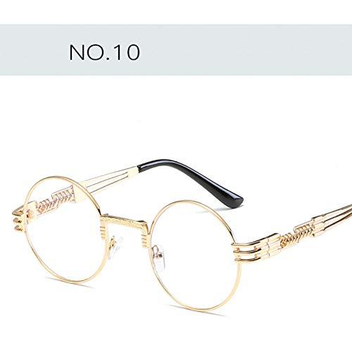 YOURSN Gothic Steampunk Sonnenbrille Männer Frauen Metall Wrap Brillen Runde Shades Designer Sonnenbrille Spiegel Hohe Qualität-10-Gold White