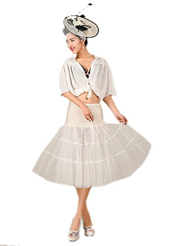 Honeystore Wedding bridal 1950 Petticoat Reifrock Unterrock Petticoat Underskirt Crinoline für Rockabilly Kleid Elfenbein X-Large