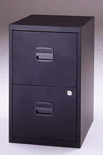 Bisley Home Hängeregistraturschrank PFA, 2 HR-Schubladen, Metall, 633 Schwarz, 40 x 41.3 x 67.2 cm - Schubladen Nähen