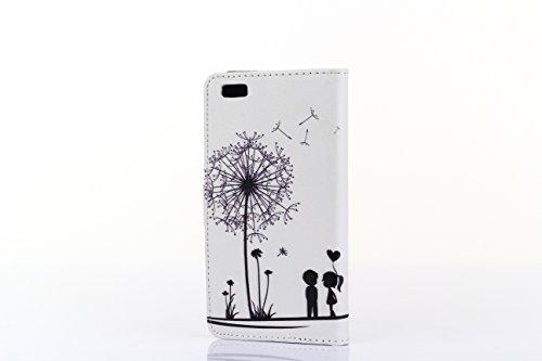 Tinxi 259590005 Housse en cuir rigide pour iPhone 6 Brun Deux enfants avec pissenlit en blanc