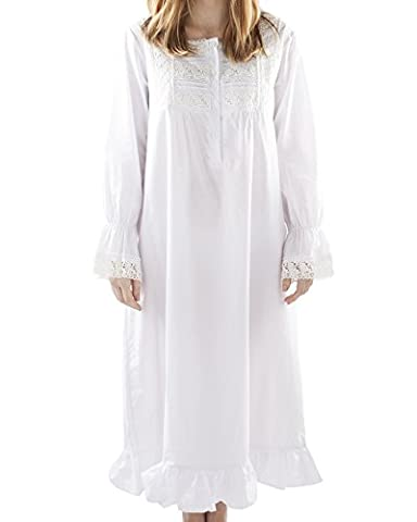 VNTW-009;S Victorian Style Square Neck Long Sleeve Nightdress with Lace