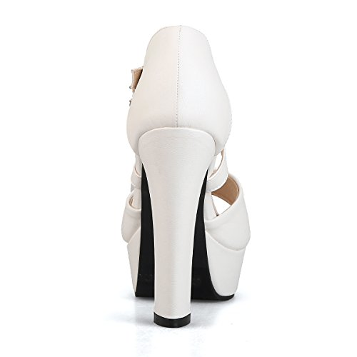 UH Femmes Sandales Mary Jane Peep Toe à Talons Haut Blocs avec Plateforme Douce et Elegantes pour Journee Blanc