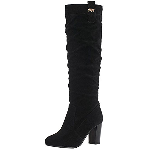 Bottes Slouch Femmes A Casual COOLCEPT Chunky Longue Enfiler Black SItwn6