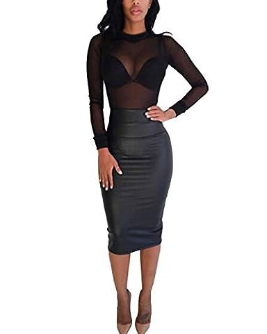 ZANZEA Femmes SEXY Chemise Sheer Mesh Stretch Shirt Tops Blouse Hauts Transparent Noir EU 48
