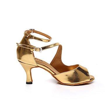 Scarpe da ballo-Personalizzabile-Da donna-Balli latino-americani / Sneakers da danza moderna / Salsa-A stiletto-Di pelle-Rosa / Dorato golden