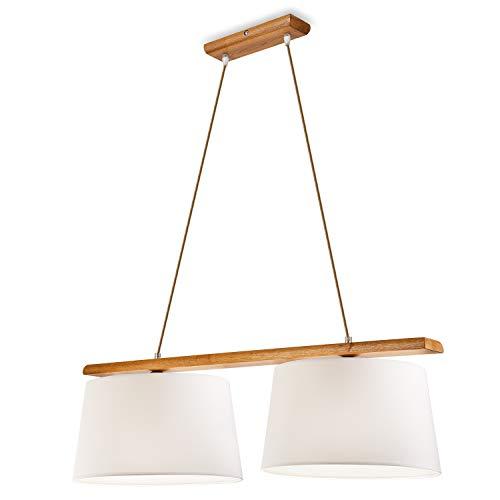 Pendel-Leuchte Decken-Leuchte VERONA aus Eiche (Rustik), Skandinavischer Stil, 2-Flammig für E27 Leuchtmittel für Wohnzimmer, Esstisch, Flur, Schlafzimmer etc.