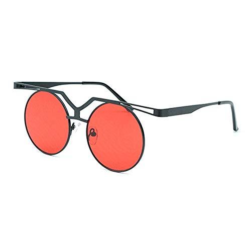FURUDONGHAI Kreis Rahmen Vintage Sonnenbrille Persönlichkeit Steampunk Brille Unisex UV400 Schutz schwarzer Rahmen besonders geeignet für sommerreisen oder Outdoor s (Farbe : Red)