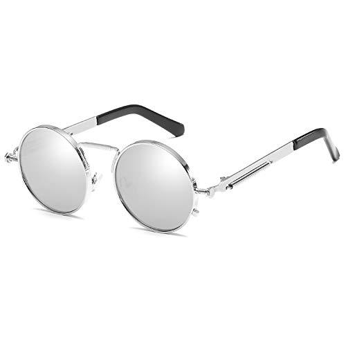 Kennifer Retro Steampunk Style inspiriert Runde Metall Kreis Sonnenbrille für Frauen und Männer (Steampunk Frauen Für)