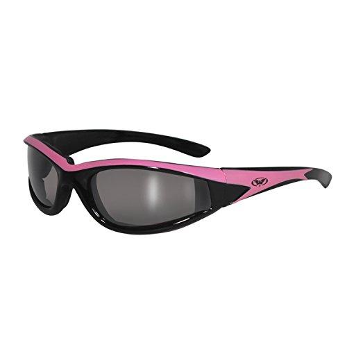 Global Vision Hawkeye☆dunkel verspiegelte Sonnenbrille☆Pinker Rahmen☆Bruchsichere Linsen☆Winddicht mit Polster☆UV400